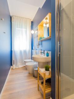 First bathroom with shower. La salle de bain avec douche desservant les deux premières salles.