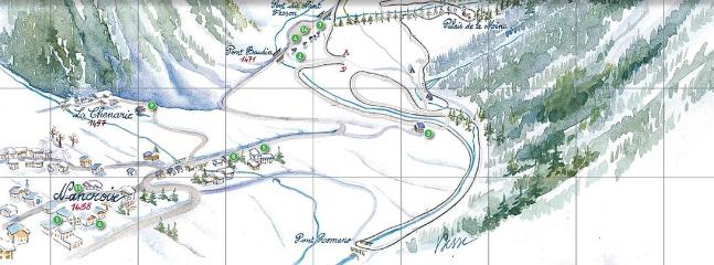 Map of cross country ski course runs right outside the chalet