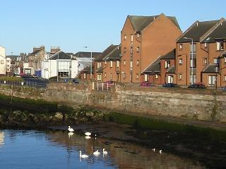 The holiday property looks over Ayr's river and harbour