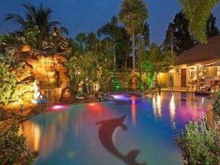 Garden & Swimming poll illuminated in the evening