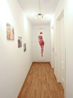 The downstairs corridor.