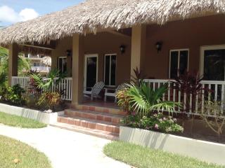Our beautiful thatched roof cabana 13B is just steps from the water