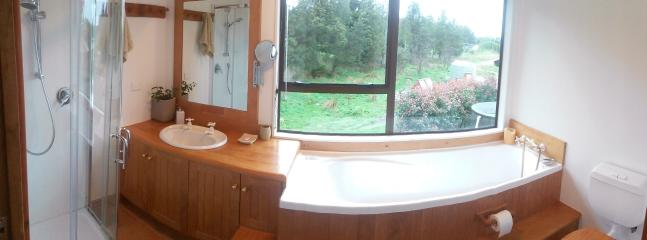 Upstairs bathroom. Bathe with a bush view