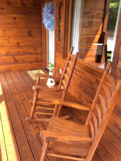 Newly Stained Cabin - Porch