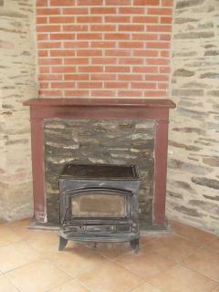 Log burner for the open plan living room.