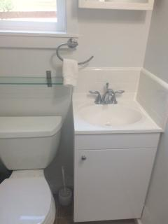 Brand newly remodeled bathroom with shower & tub.