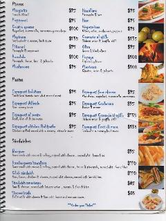Pool Site Restaurant menu prices in pesos