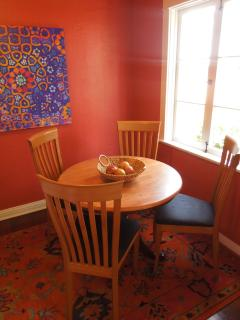 Wood Dining Table with 4 Fabric Covered Chairs