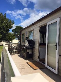 our great private decking area, with patio furniture and gas barbeque.