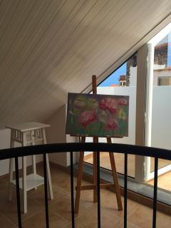Part of the art gallery is located directly at the apartment