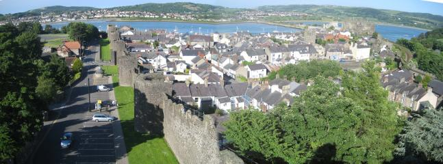 Conwy Town from the walls: Conwy Castle, River Conwy, Deganwy view.