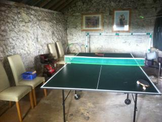 Large shed with table tennis, (just in case it rains!)
