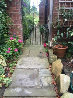 Garden path leading to front door of the cottage