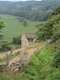 The cottage from one of the local footpaths. Great walking in the Pennines, Dales and Peak District