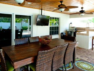 Covered Patio Features a Flat Screen and Bar