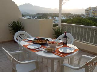 Rioja and paella as the sun goes down.