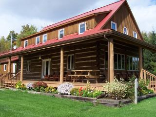 A view of the Lodge and deck facing northeast.