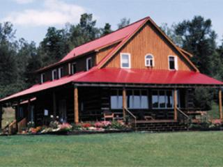 Front view of the east side of the Lodge that faces the lake.