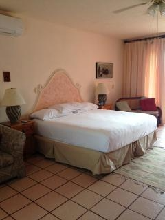 King Suite - King bed, two couches, private balcony with hammock and two chairs, Wi-Fi access, A/C