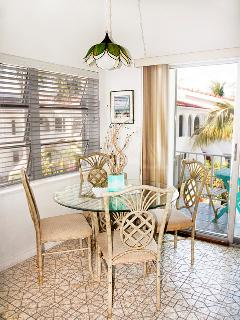 You can dine out on the balcony or in the cool airy dining area.