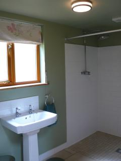 Walk in en suite wet room with heated towel rail, wc, sink and shower