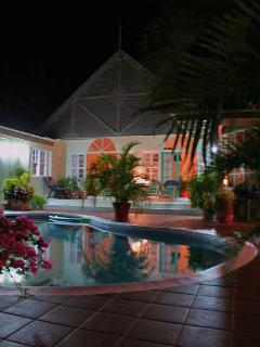 Night time pool area setting