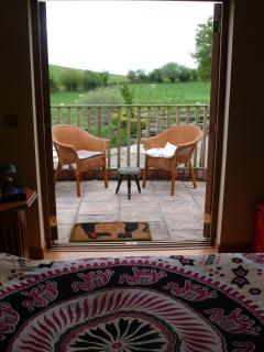 View of the terrace from the barn accomodation