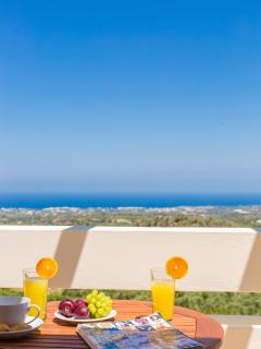 A perfect view of the northern coastline of Crete from your bedroom terrace