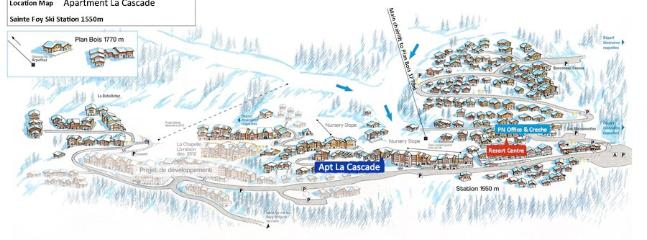 La Cascade resort map. Situated across from the chair lift.