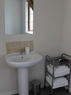 Spacious shower room with shower, toilet and basin