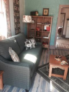 Living room with new sleeper sofa.