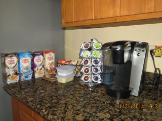 A variety of coffees, teas, and hot chocolate to help wake you up or calm you down!
