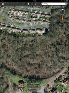 Google Earth view of flat on the edge of Woodland