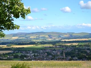 The view from Kirklandbank Farmhouse over Strathmore and the town of Alyth