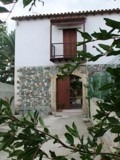 The front of the house; a short walk from the village square and amenities.