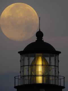 Full moon over the top of Tybee LIghthouse!