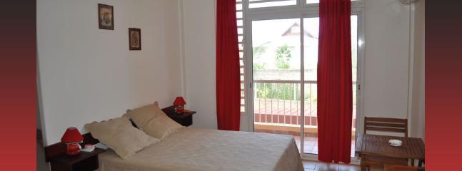 Studio 26 m2 (dont terrasse privative et abritée de 5 m2) pour 2 pers, avec clim, kitchenette et SDB