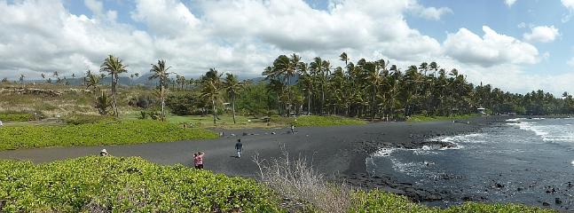 One of 2 Black sand beaches