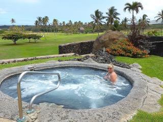 Lava rock hot tub