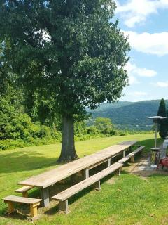 New Outdoor dinning farm table with breathtaking views overlooking the blue ridge mountains