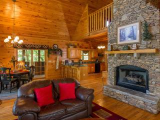 Main Living Room,Stacked Stone Gas Fireplace, 55 IN TV, Hot Chocolate in front of the roaring Fire