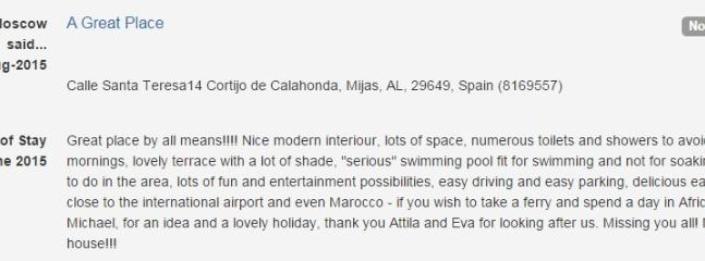 Natalie's opinion about her stay at 14 Cortijo de Calahonda