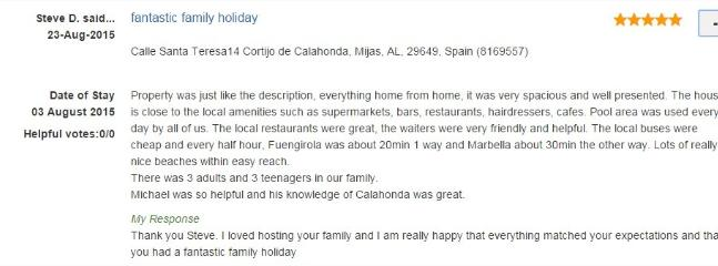 Steve from UK tells about his family holiday