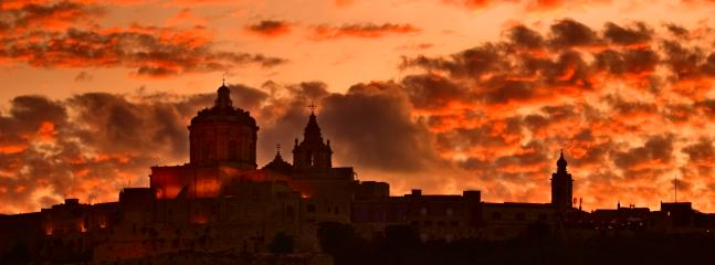 Mdina skyline at sunset.