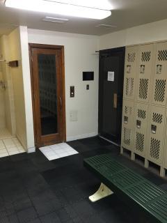 Sauna in fitness center locker room