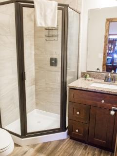 A ground level Bear Lake guest bathroom