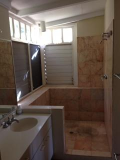 Spacious master bath with large marble shower and separate half bathroom
