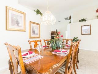 Formal dining area, porcelain floor tiles