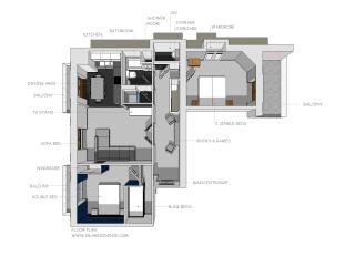 The layout of the apartment.