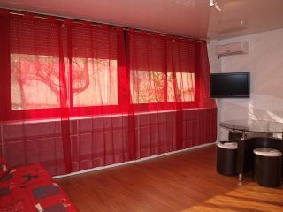 Grande baie vitrée, rideaux et volets roulants électriques